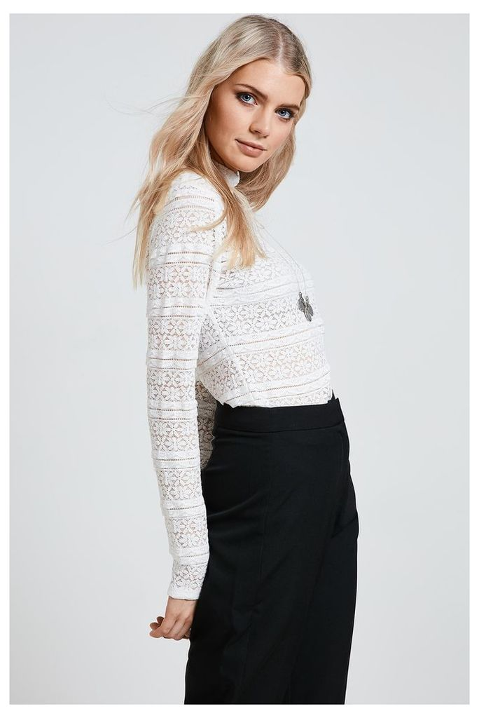 Fashion Union Long Sleeve Lace Top - White