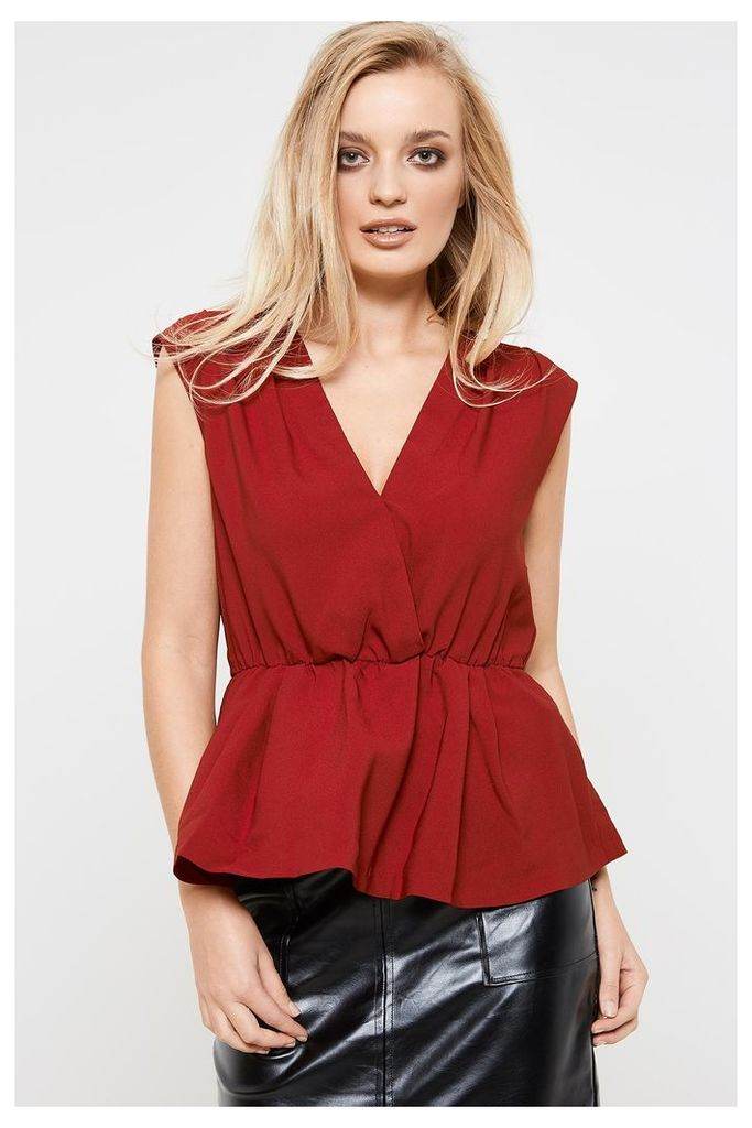 Y.A.S Amber Wrap Over Peplum Sleeveless Top - Red