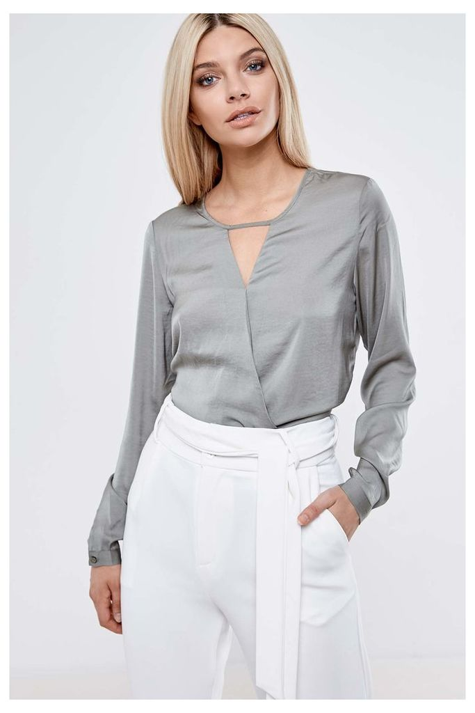 Vila Wrap Blouse - Grey