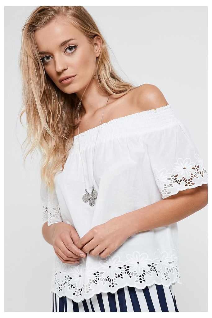 Only Off Shoulder Top - White