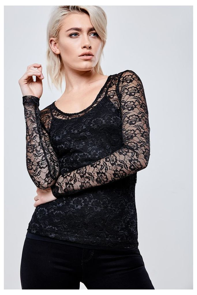 Noisy May Long Sleeve Lace Top - Black