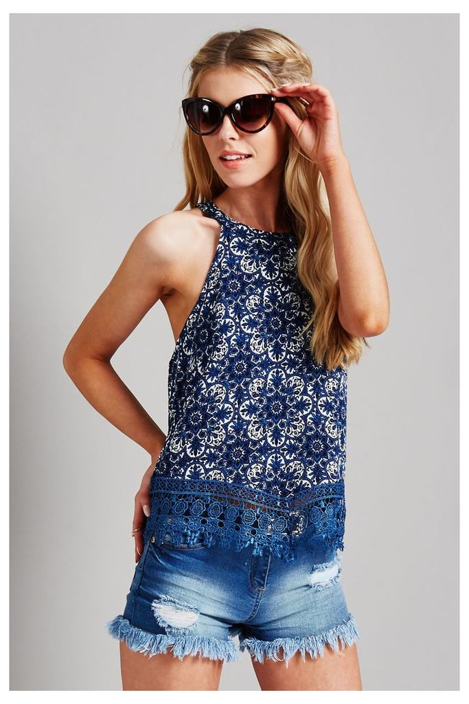Glamorous Embroidered Top - Blue