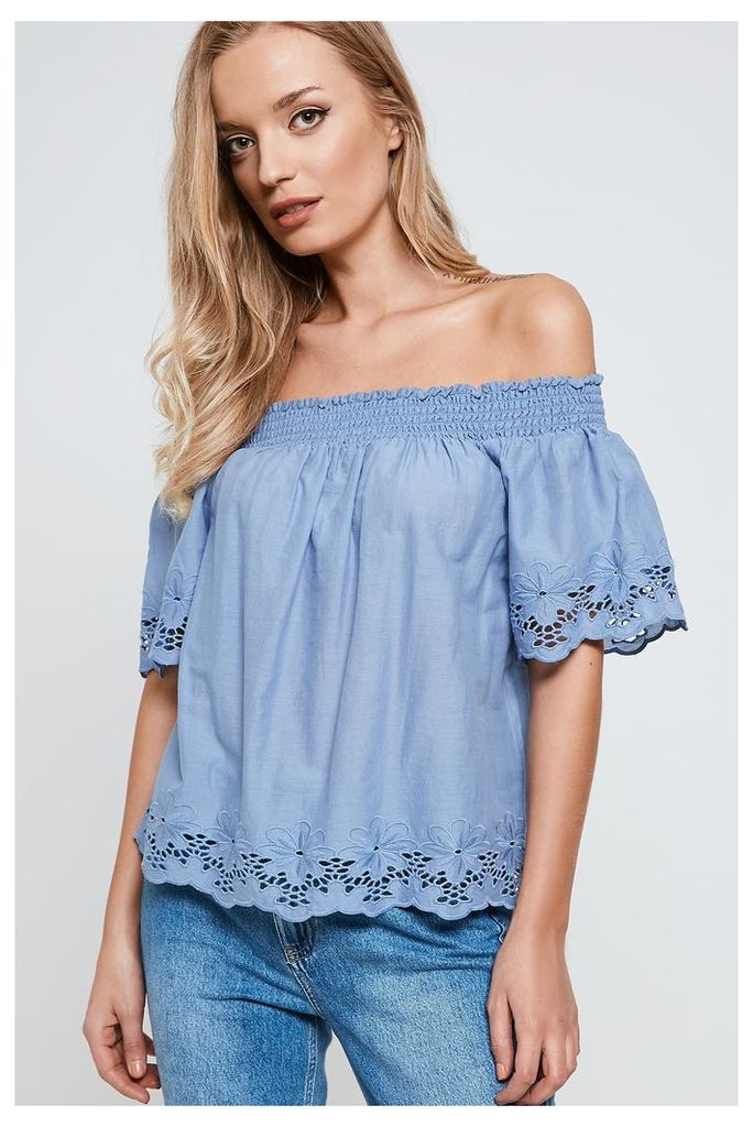 Only Off Shoulder Top - Blue