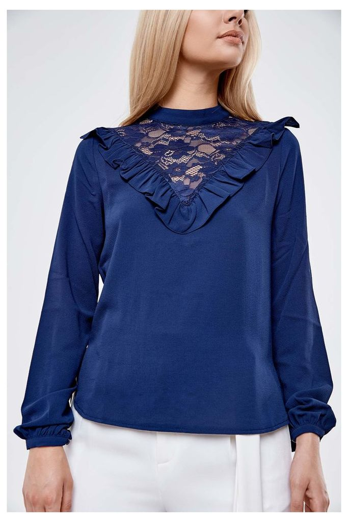 Fashion Union Insert Frill Blouse - Navy