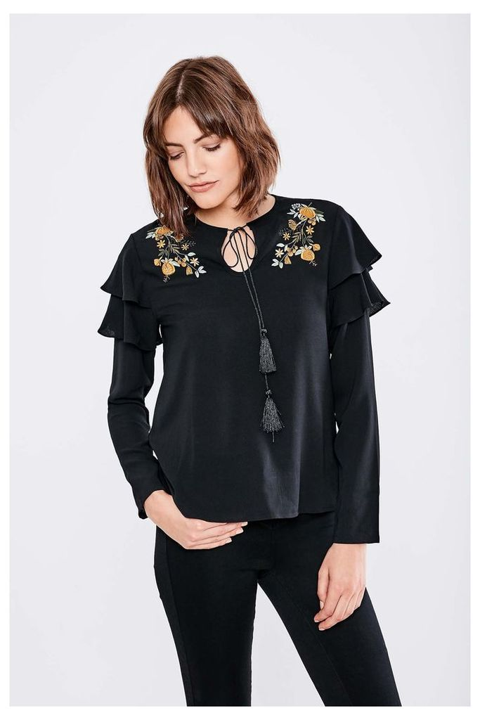 Fashion Union Embroidered Ruffle Top - Black