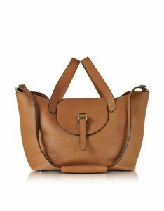 Meli Melo Designer Handbags, Tan Coimbra Leather Thela Medium Tote Bag