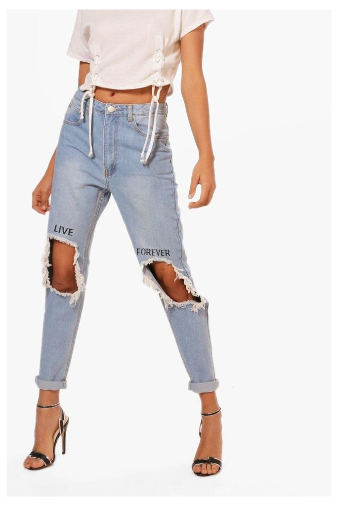 High Waist Embroidered Slim Fit Moms Jeans - blue