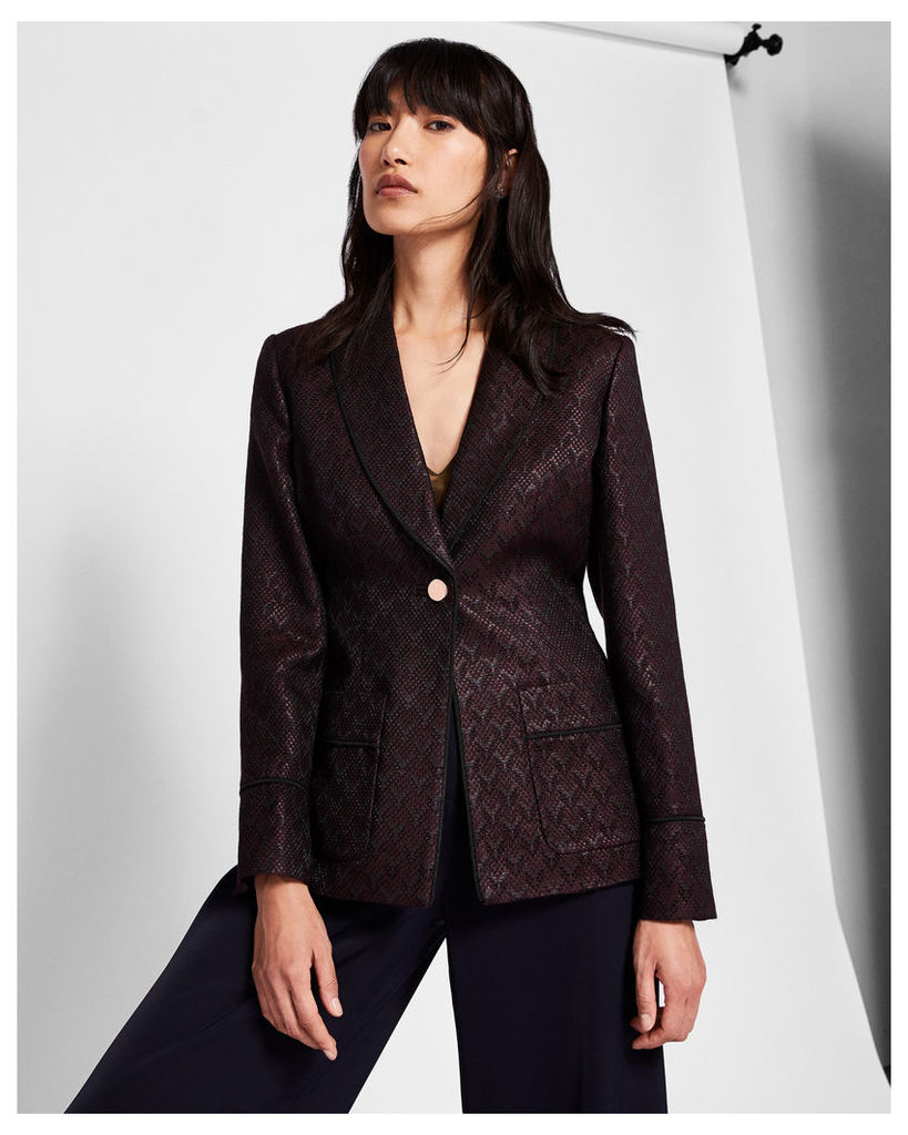 Ted Baker Jacquard piping suit jacket Grape