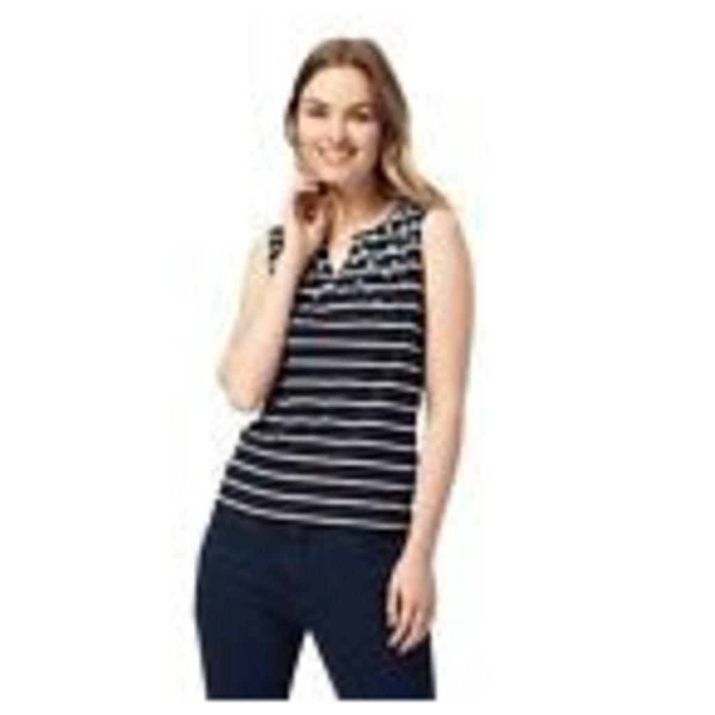 Maine New England Womens Navy Embroidered Notch Top From Debenhams 18