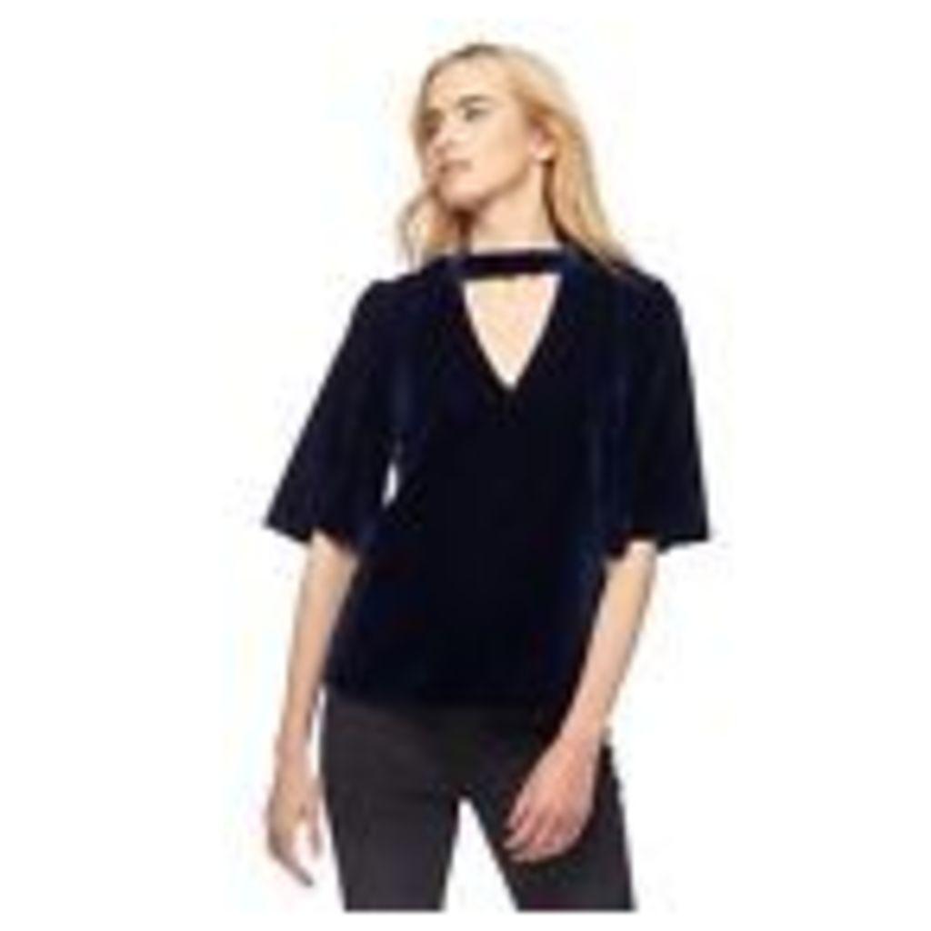 Nine By Savannah Miller Womens Blue Velvet Choker Top From Debenhams 14