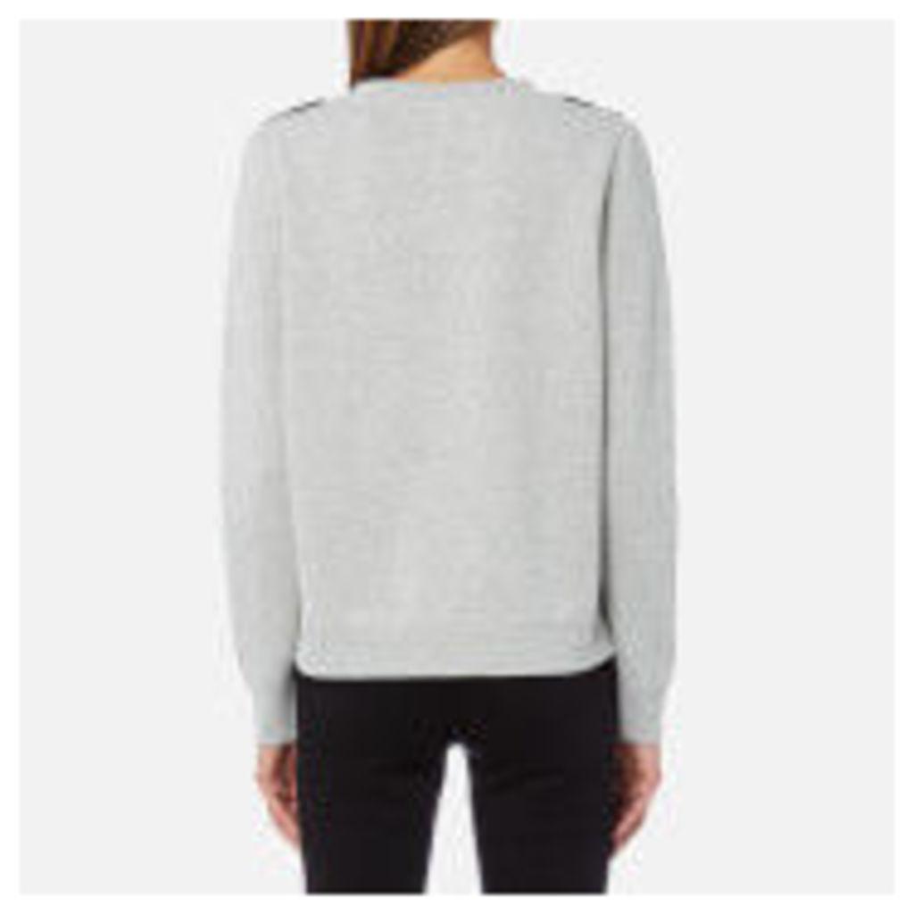 Maison Scotch Women's Crew Neck Sweatshirt with Lace Applique - Grey Melange