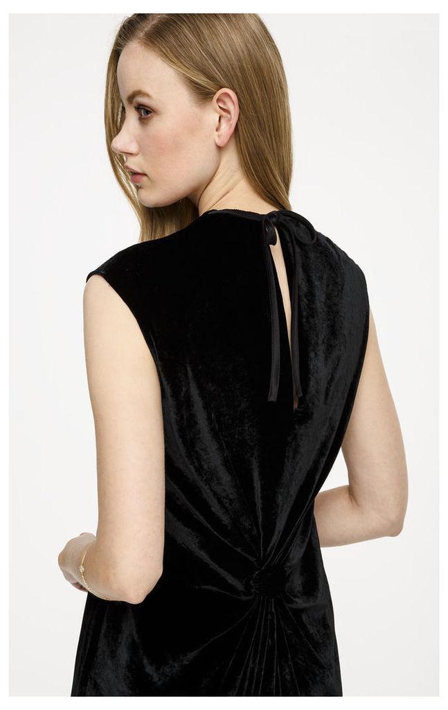 Velvet Satin-Trimmed Dress