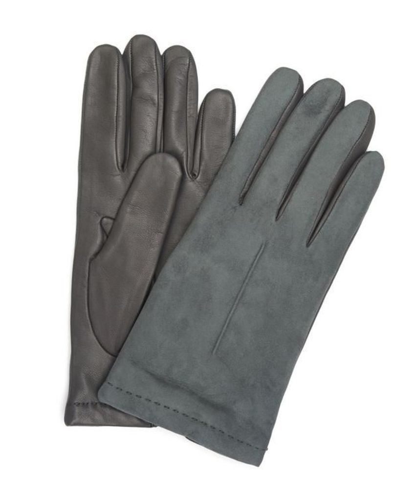 Nappa Leather Suede Top Half-and-Half Gloves