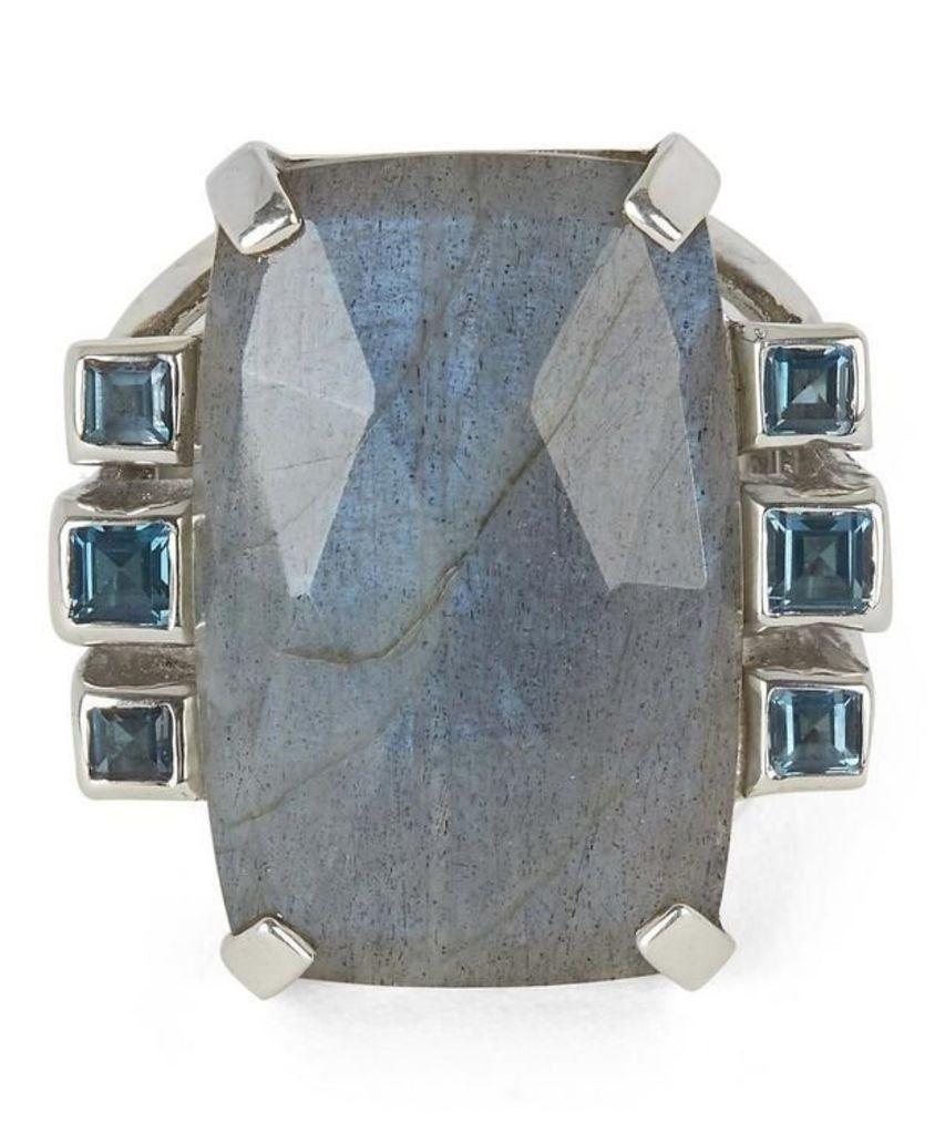 Silver Labradorite and London Blue Topaz Ring