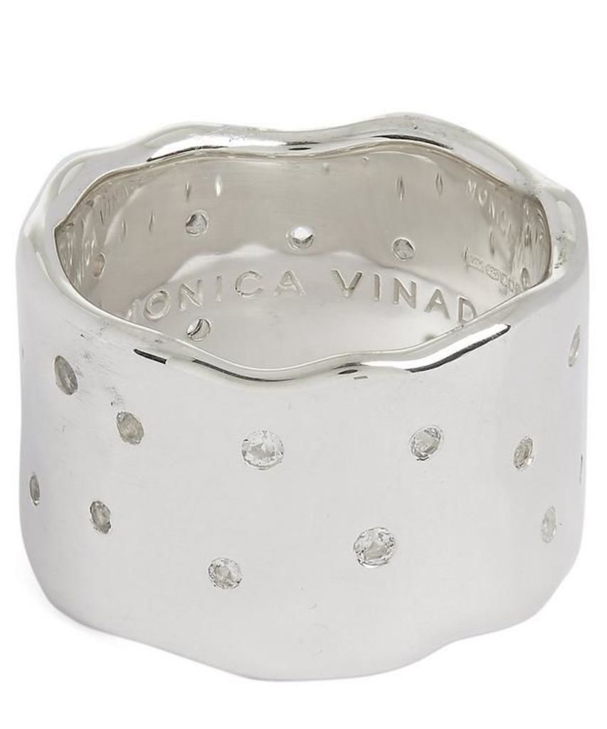 White Topaz Scatter Wide Band Ring