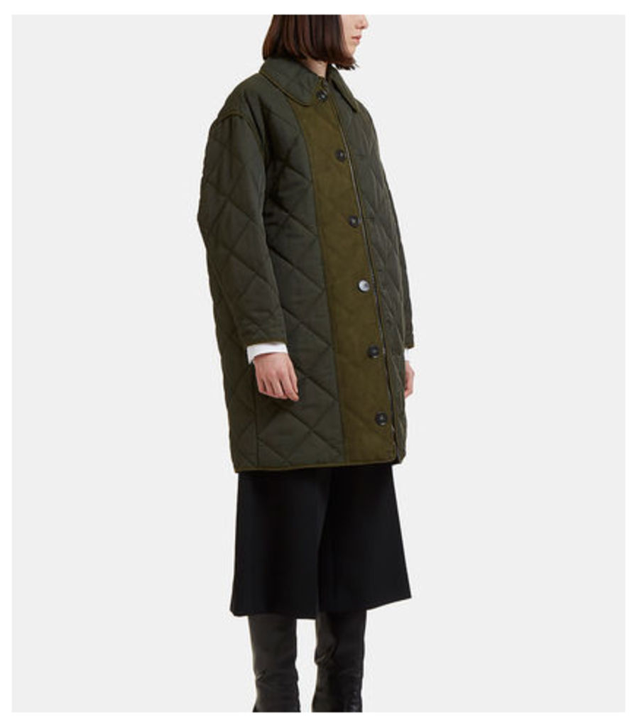 Faux Suede Panelled Quilted Coat
