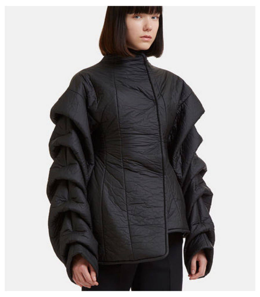 Ruched Sleeves Asymmetric Puffer Jacket