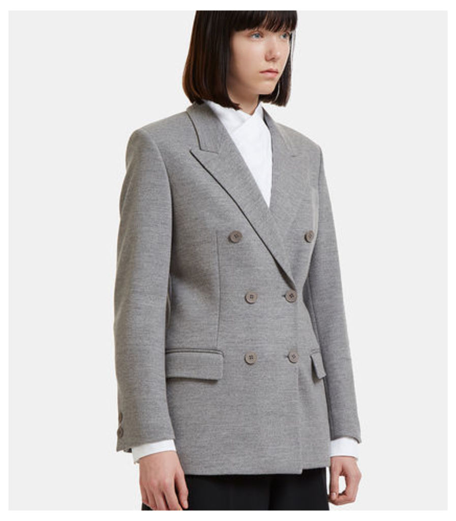 Double-Breasted Wool Blazer Jacket