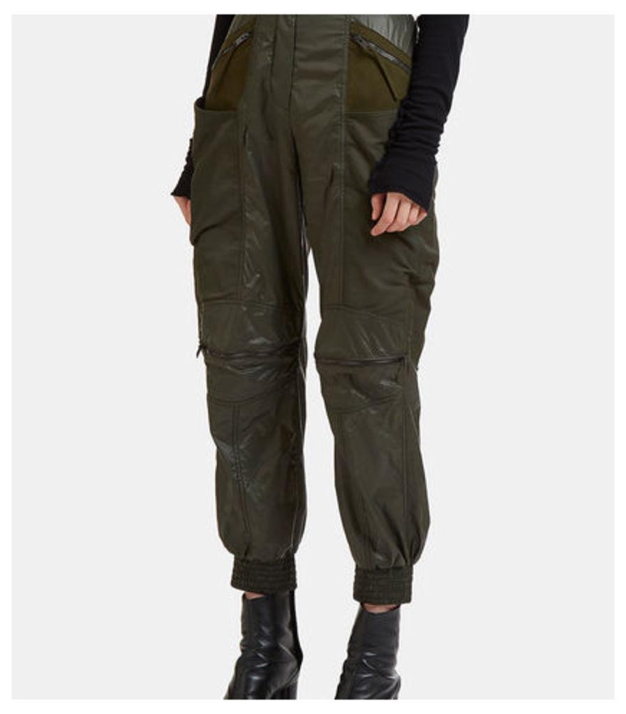 Faux Suede Panelled Technical Pants