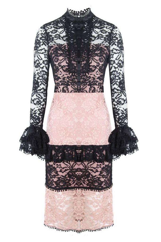 Beverly Dress Black Blush Lace