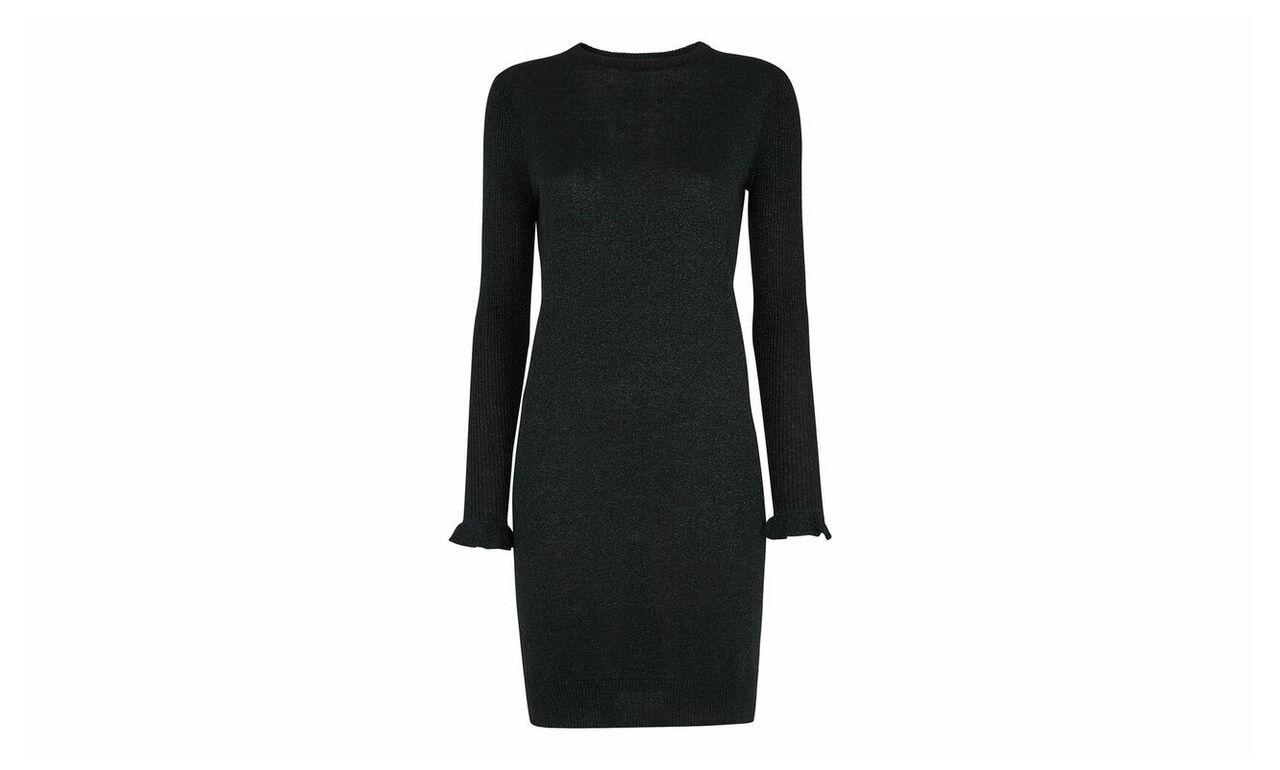 Frill Cuff Sparkle Knit Dress