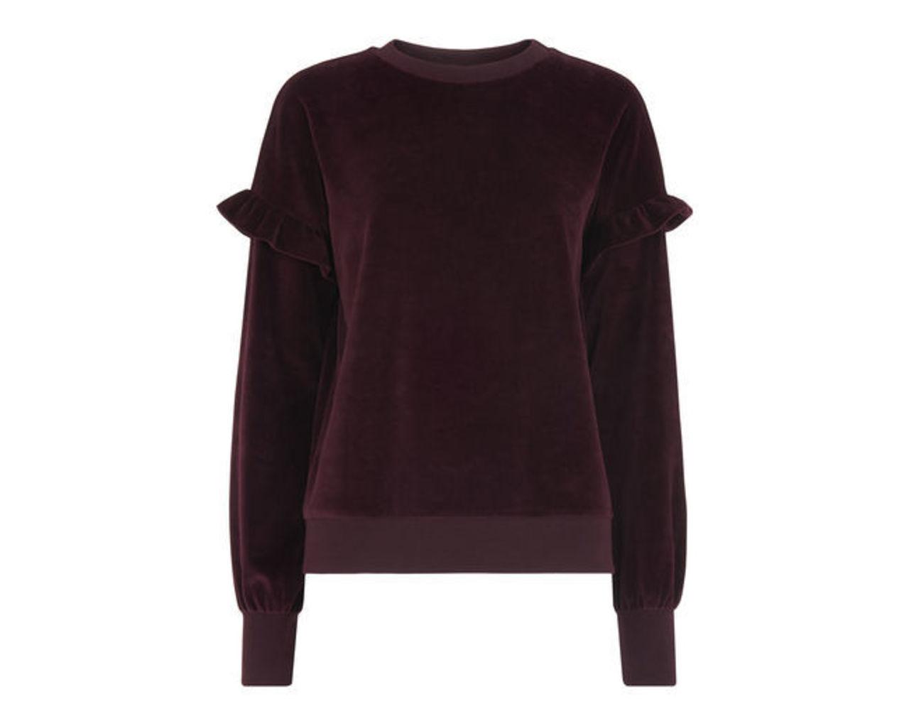 Velour Frill Sleeve Sweatshirt