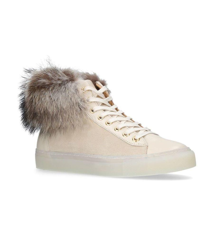 Fur Trim High-Top Sneakers