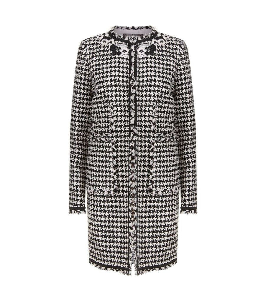 Floral Embroidered Houndstooth Coat