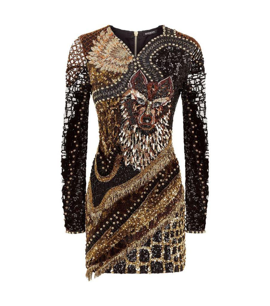 Animal-Embellished Mini Dress