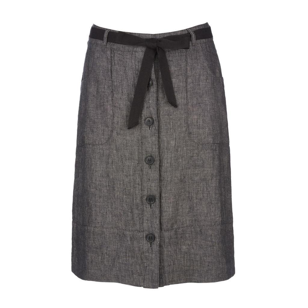 Button Front Pocket Detail Linen Skirt