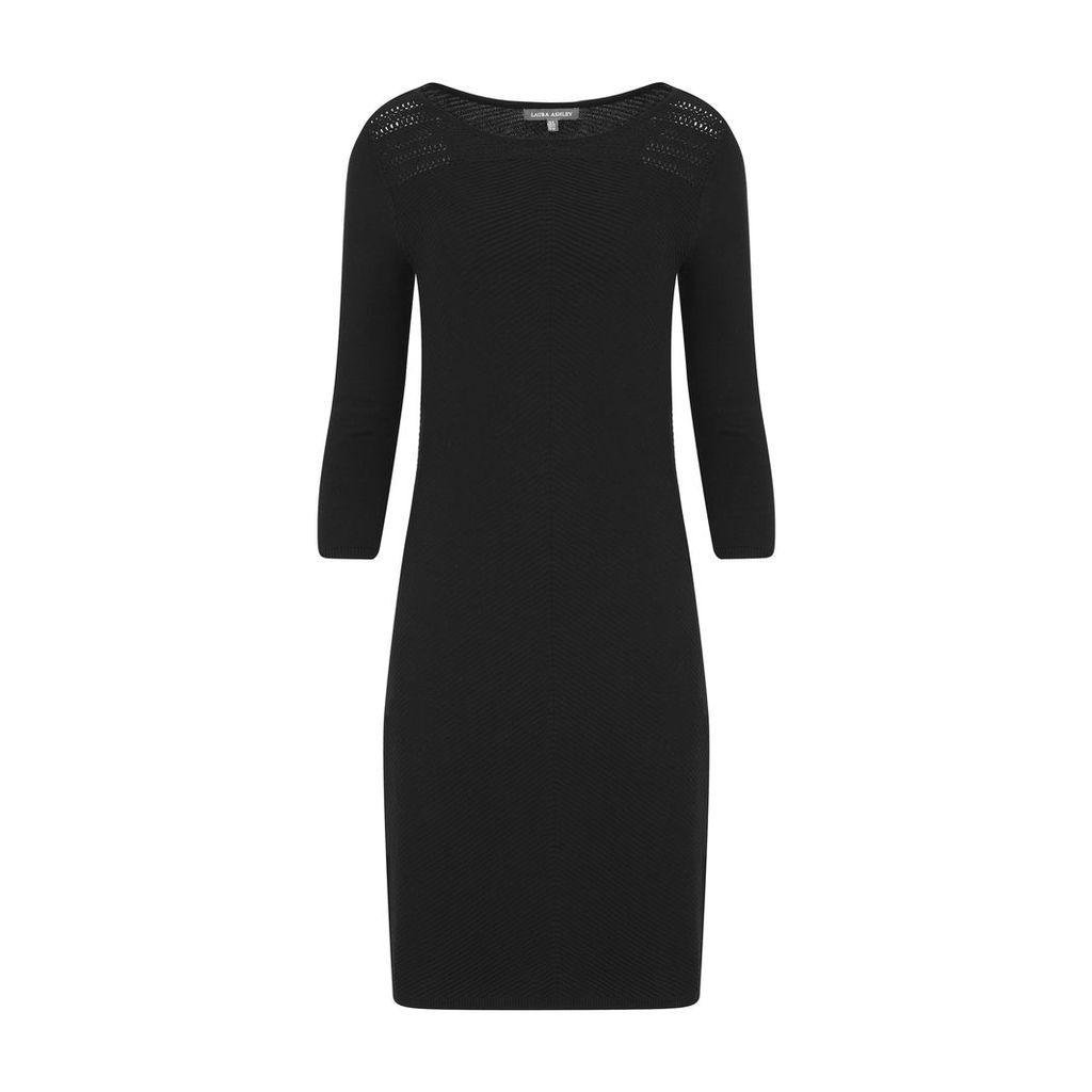 Black Crochet Knit Dress