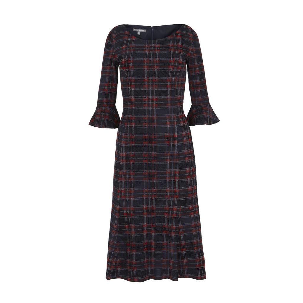 Check Flocked Flippy Dress