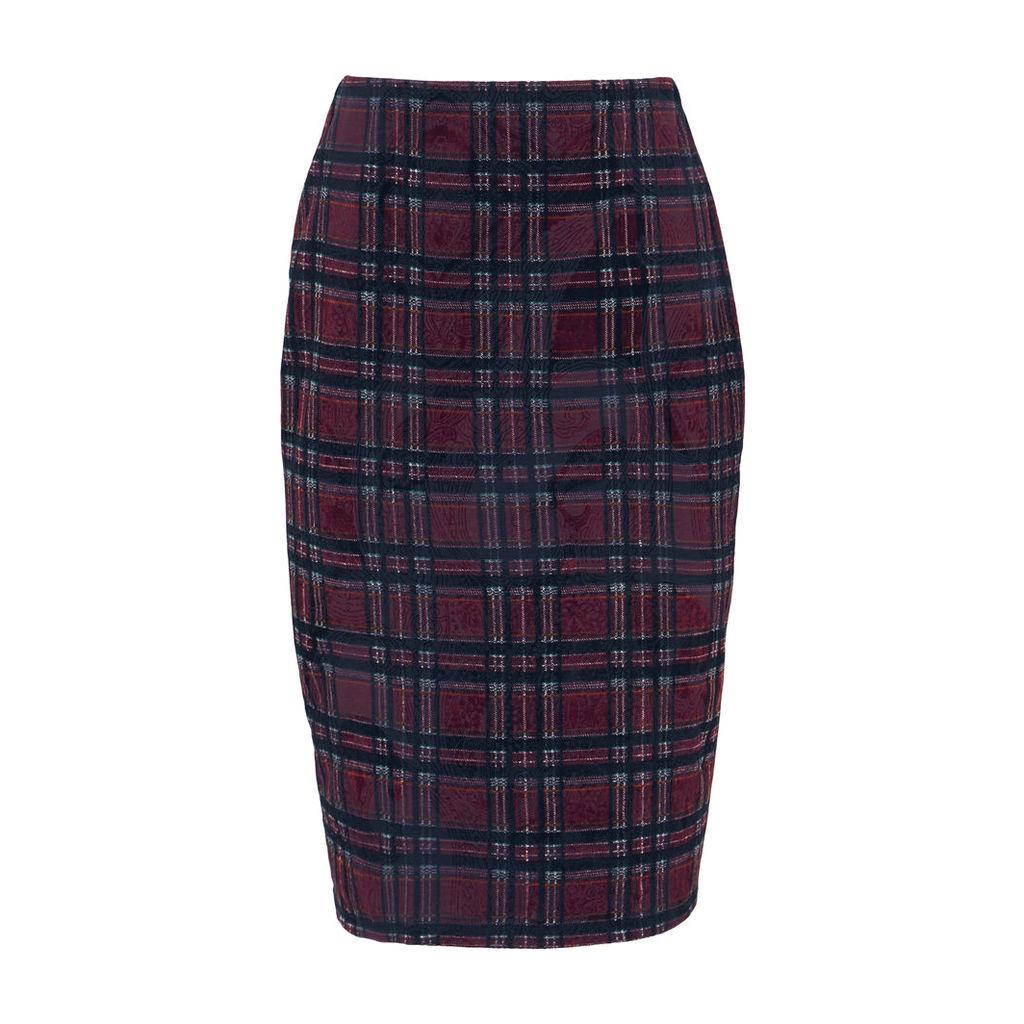 Check Flocked Skirt