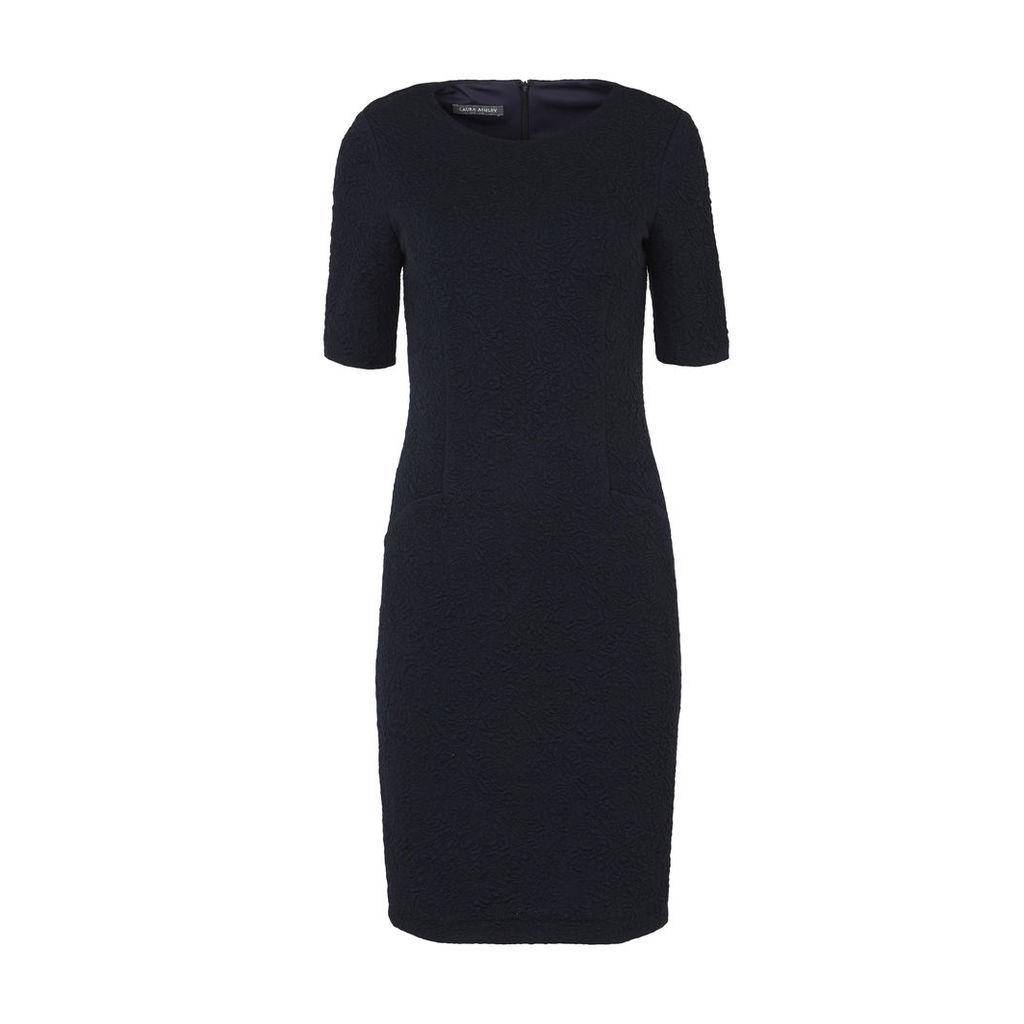 Black Textured Jacquard Dress