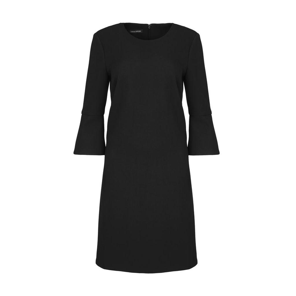 Black Flared Sleeve Shift Dress