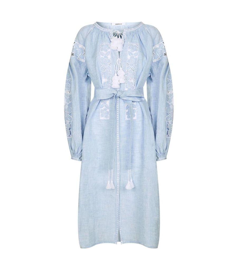 Nina Embroidered Midi Dress