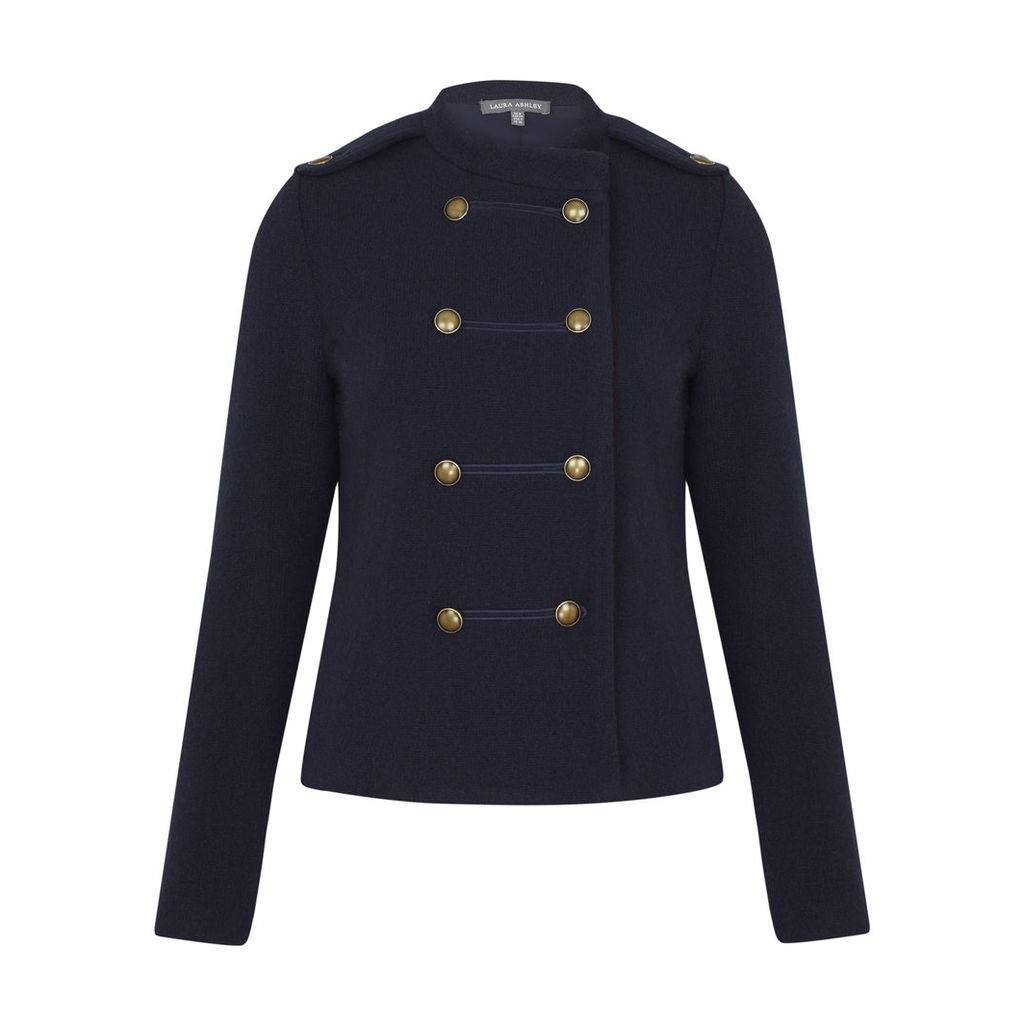 Blue Boiled Wool Double Breasted Jacket