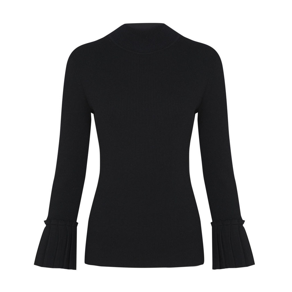 Black Funnel Neck Jumper with Pleated Cuffs