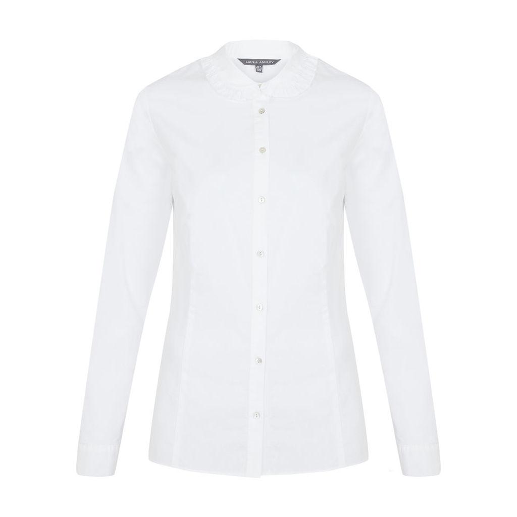 White Ruffle Collar Blouse