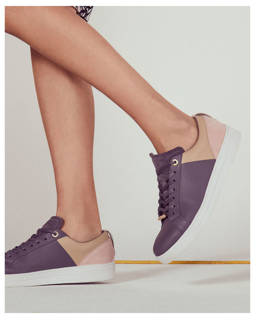 Ted Baker Lace-up colour block trainers Deep Purple