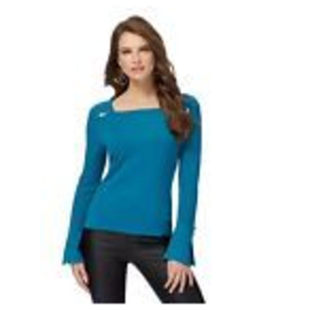 Star By Julien Macdonald Womens Turquoise Flared Sleeves Square Neck Top