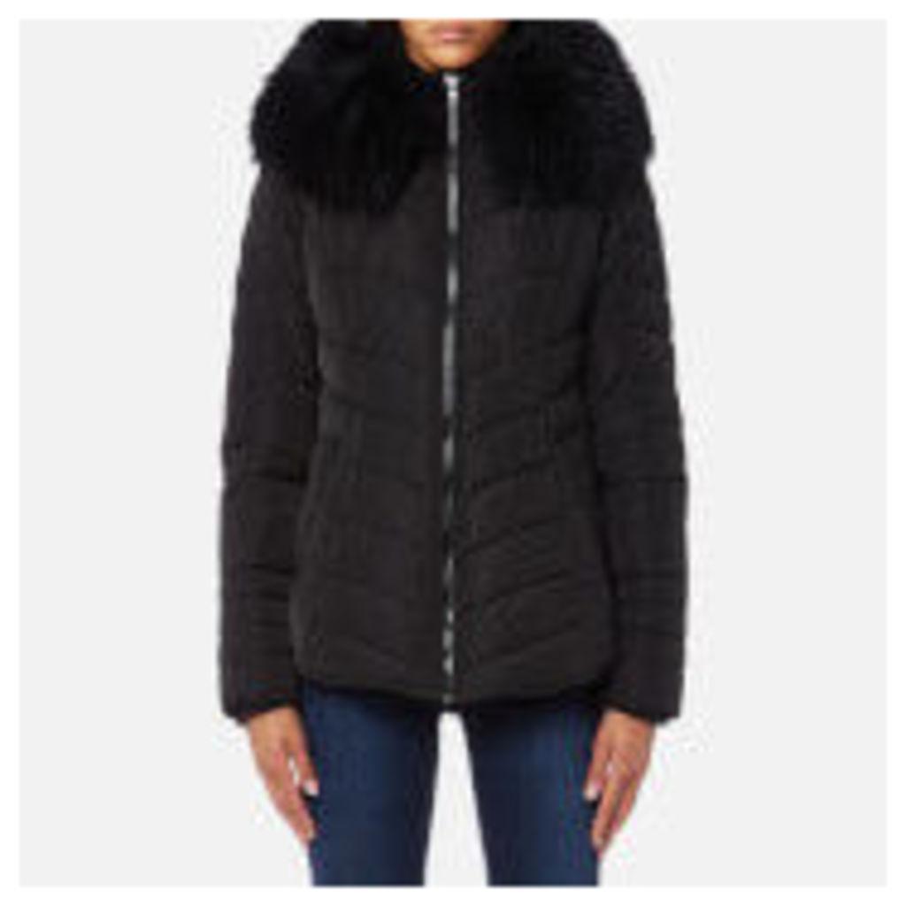 Froccella Women's Short Cheveron Big Fur Collar Coat - Black/ Black Fur