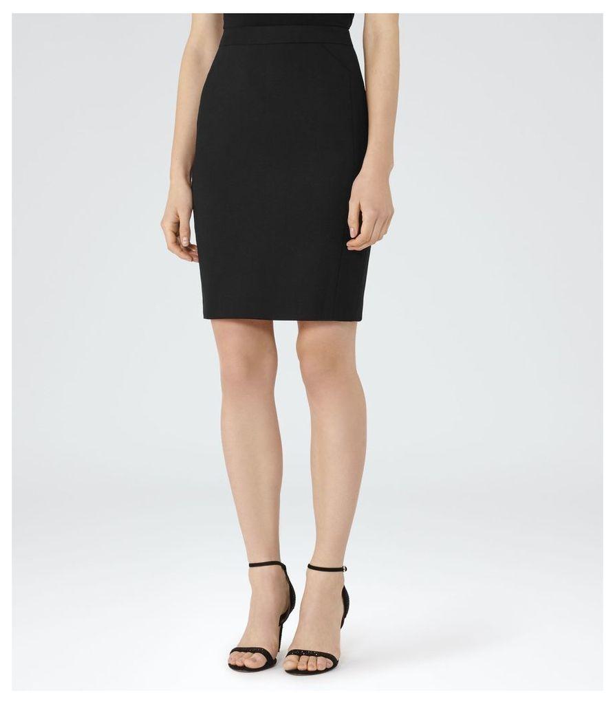 REISS Dartmouth Skirt - Textured Pencil Skirt in Black, Womens, Size 4