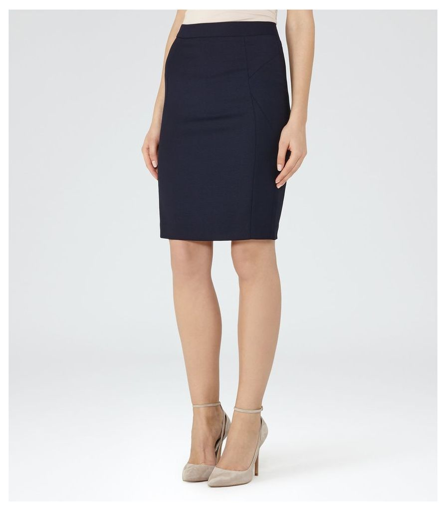 REISS Indi Skirt - Textured Pencil Skirt in Blue, Womens, Size 4