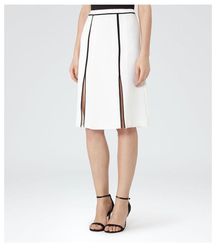 REISS Ennis - Slit-front Midi Skirt in White, Womens, Size 4