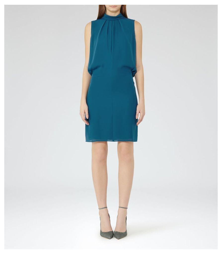 REISS Leonie - Tie-neck Shift Dress in Blue, Womens, Size 4