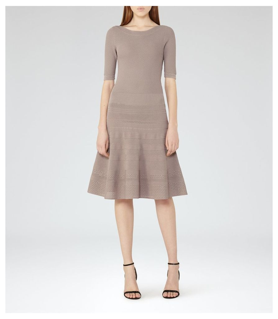 REISS Karolina - Knitted Fit And Flare Dress in Brown, Womens, Size 4