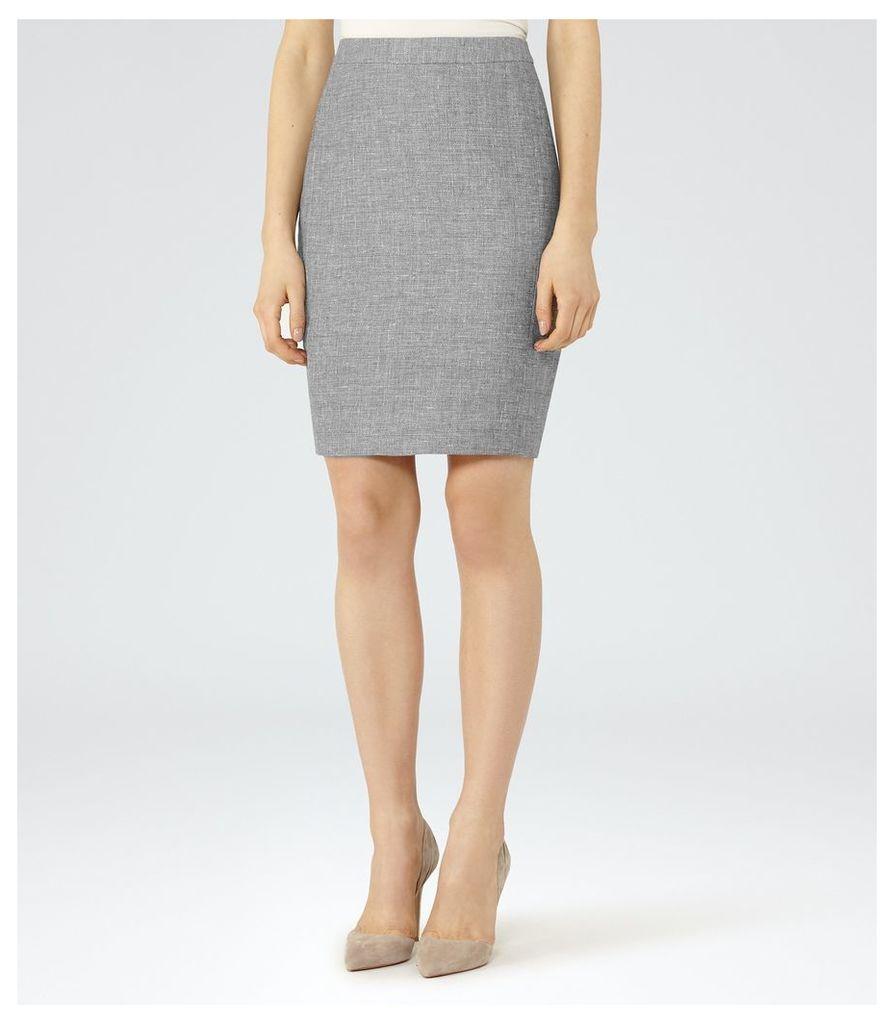 REISS Turlington Skirt  - Tailored Pencil Skirt in Grey, Womens, Size 4