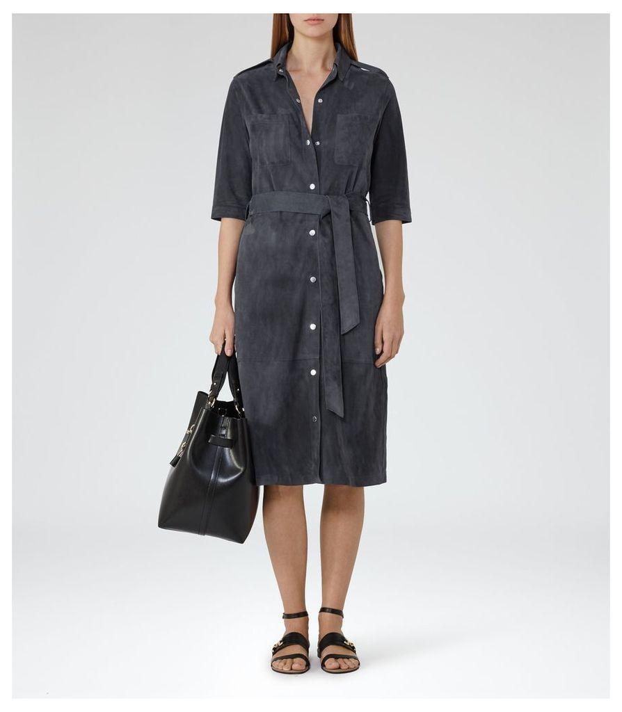 REISS Chloe - Suede Shirt Dress in Blue, Womens, Size 4
