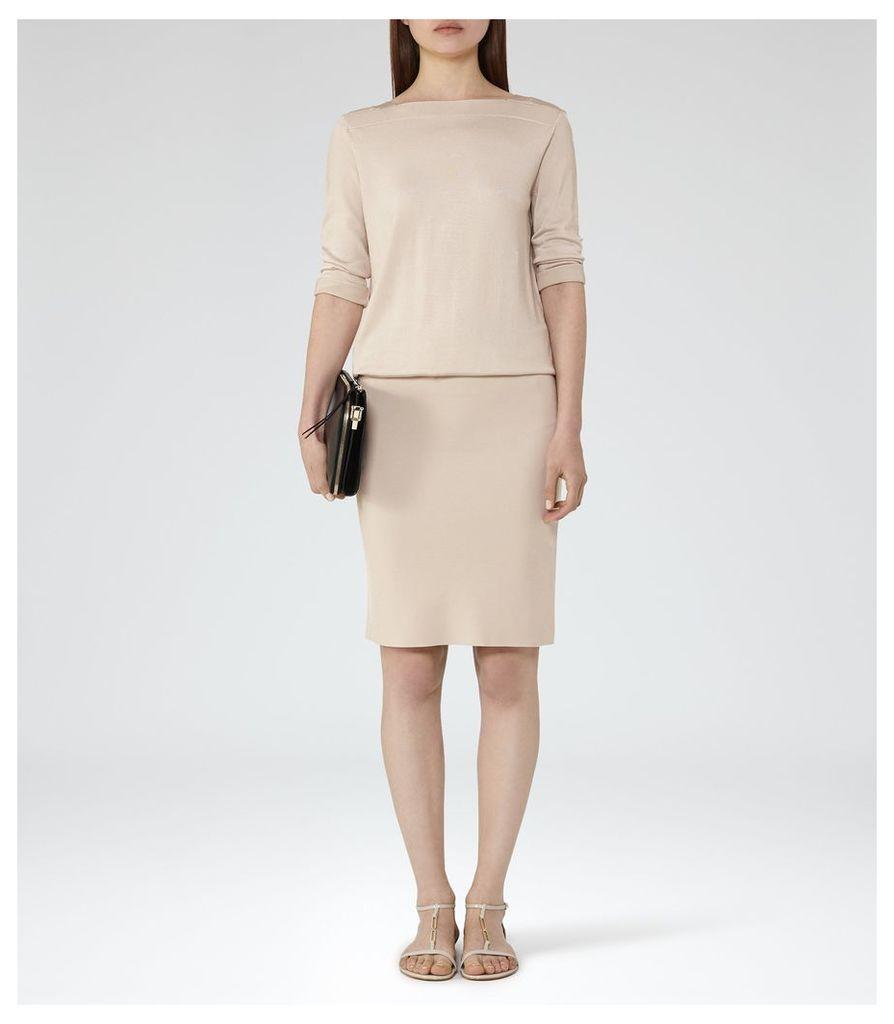 REISS Ren - Knitted Cross-back Dress in Cream, Womens, Size 4